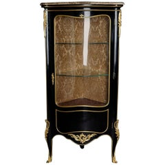 20th Century Louis XV Style Piano-Black Corner Vitrine