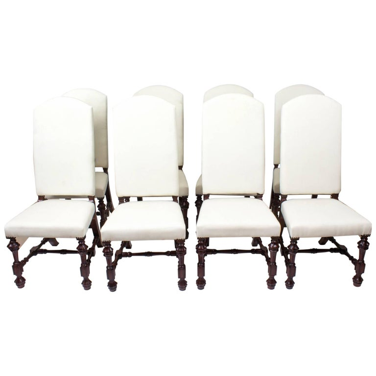 Bespoke Set Eight Carolean Style Upholstered High Back Dining Chairs