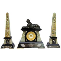 19th Century Egyptian Revival Mantel Garniture in Bronze, Marble and Onyx