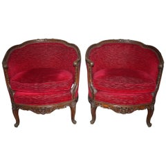 19th Century French Pair of Bergeres