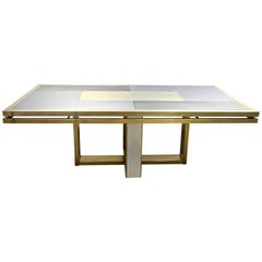 Sinopoli 1970s Italian Brass Satin & Chrome Geometric Large Dining / Hall Table