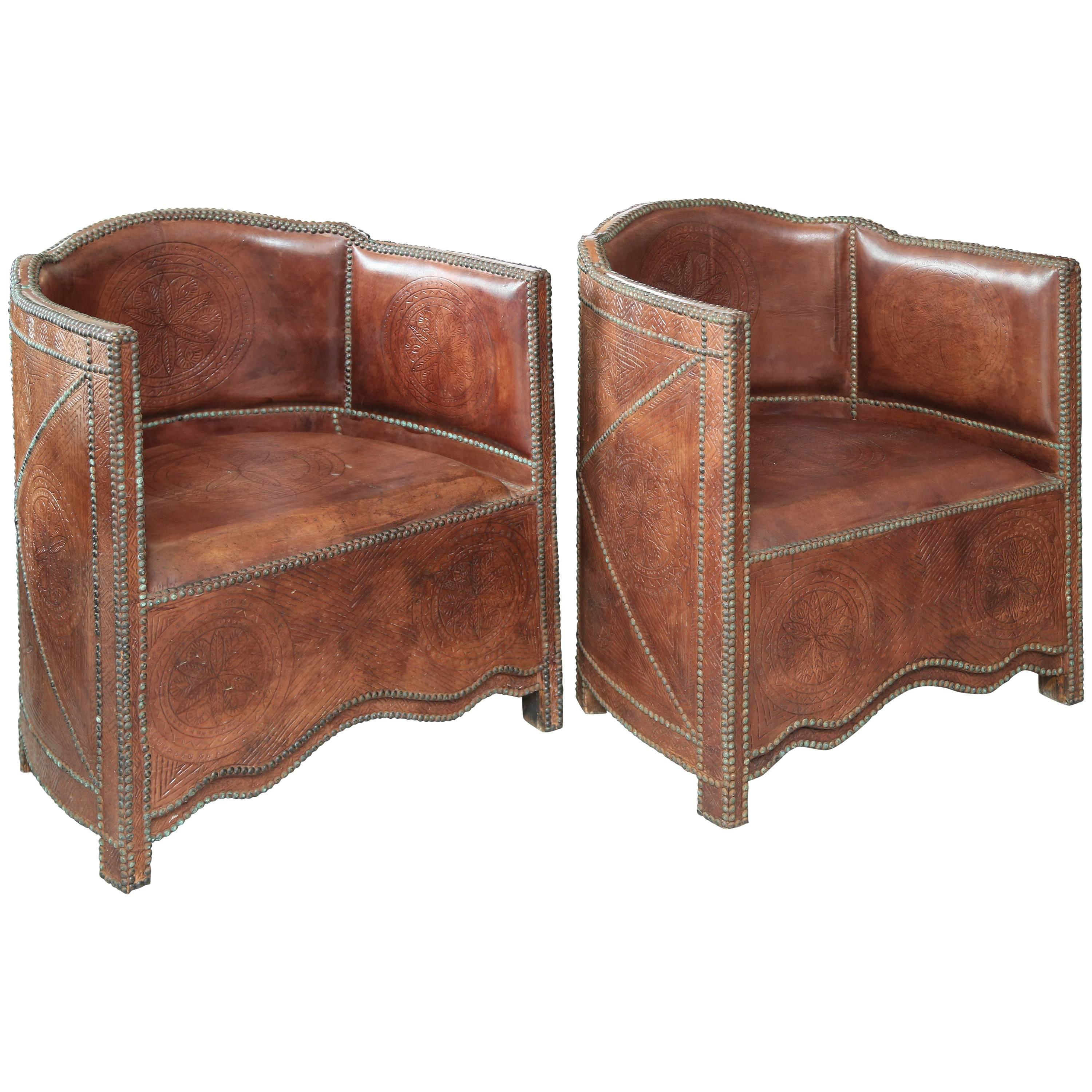 Superb Pair Of Vintage Moroccan Leather Barrel Chairs For Sale