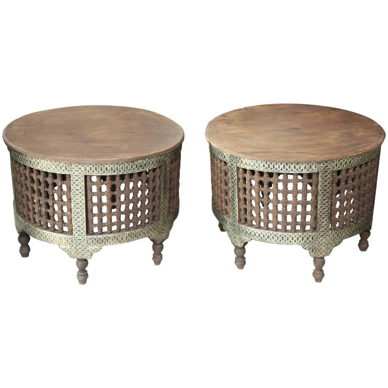 Superb pair of two round moroccan coffee tables at 1stdibs Moroccan coffee tables