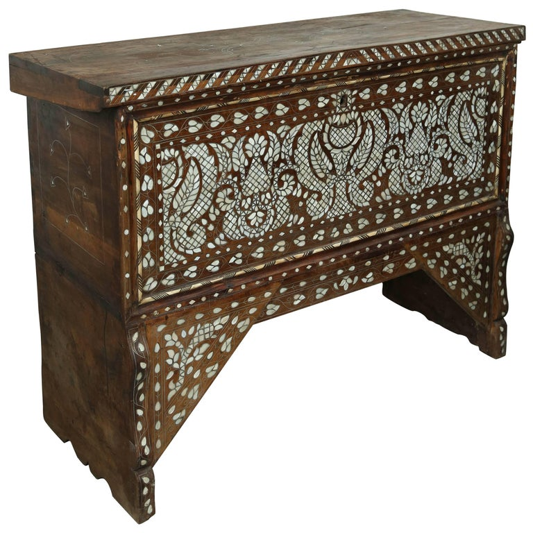 Superb 19th Century, Mother-of-Pearl Wedding Chest from Syria For Sale