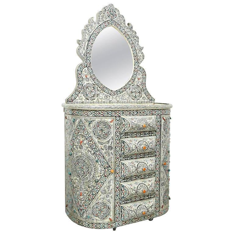 Superb Vintage Vanity with Semi-Precious Stones from Morocco For Sale