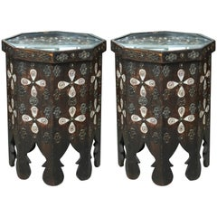 Superb Pair of Vintage Moroccan Hexagon Tables