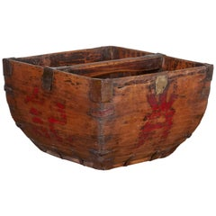 Antique Chinese Rice Measure Basket with Great Patina and Faded Red Characters