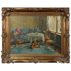 20th Century, Oil Painting Interior Biedermeier Room