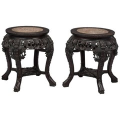 Pair of Carved Chinese Hardwood Stands, Chinese, circa 1910