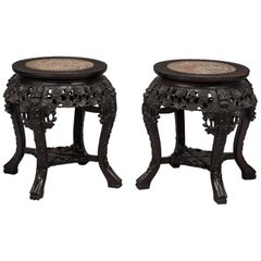 Pair of Carved Chinese Hardwood Stands with Inset Marble Tops, circa 1890