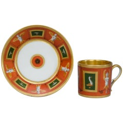 Orange Litron Cup and Saucer, Halley in Paris from the Empire Period