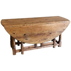 Early 19th Century, Rustic Solid Stripped Pine Gateleg Drop Leaf Table