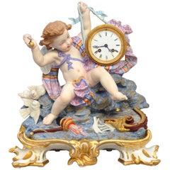 19th Century Polychrome Bisque Clock, Angel Smashing a Tambourine, Paris, France