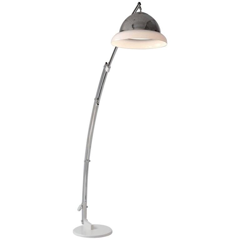 Reggiani Height Ajustable Chrome Floor Lamp , 1960s , Italia For Sale