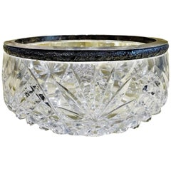 Vintage Russian Soviet Classic Large Crystal and Silver Circular Bowl, ca. 1945
