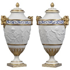 Pair of Sèvres-Style Biscuit Porcelain Vases and Covers, French, circa 1880