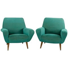 Pair of Gianfranco Frattini Chairs Modell 830, 1950s, Italian