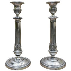 Pair of Italian 19th Century Neoclassical Silver Candlesticks 1820 Milan Maker