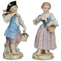 19th Century Meissen Porcelain Figures, Gardening Couple of Children