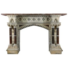 Monumental Gothic Revival Stone Victorian Chimneypiece