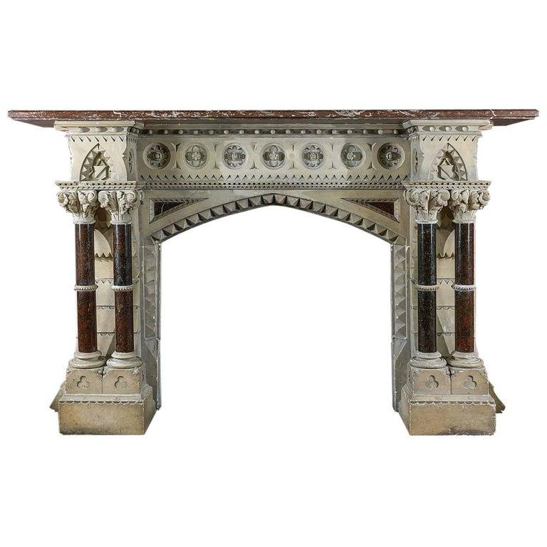 Monumental Gothic Revival Stone Victorian Chimneypiece