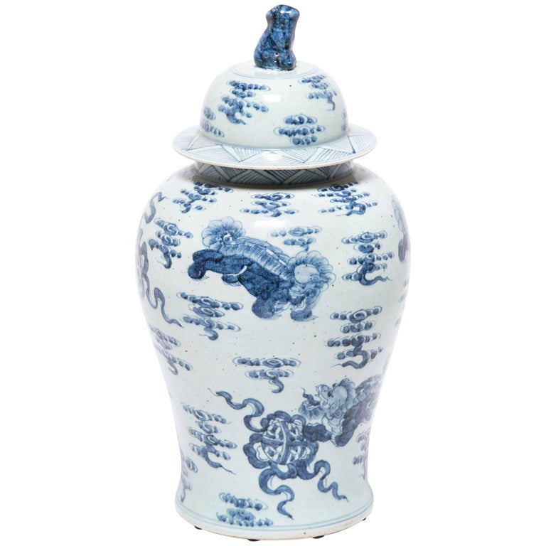 Chinese Blue-and-white Covered Shizi Jar
