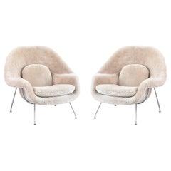 Set of Eero Saarinen Womb Chairs Reupholstered in Shearling