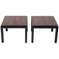 Pair of Rosewood and Black Lacquer End Tables by Milo Baughman