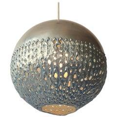 Brutalist Torch Pierced Aluminium Sphere Pendant, 1950s, USA