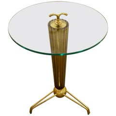 Amber/Bronze Italian Murano Glass Fluted Circular Side Table with Brass Mounts