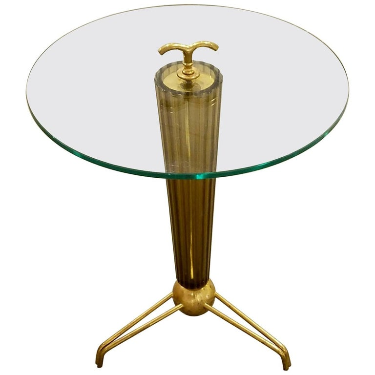 Amber/Bronze Italian Murano Glass Fluted Circular Side Table with Brass Mounts 1