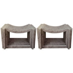 Two Italian White Carrara Marble Benches by Massimo Mangiardi