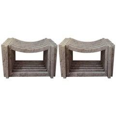 Two Italian White Carrara Marble Benches by Massimo Mangiardi