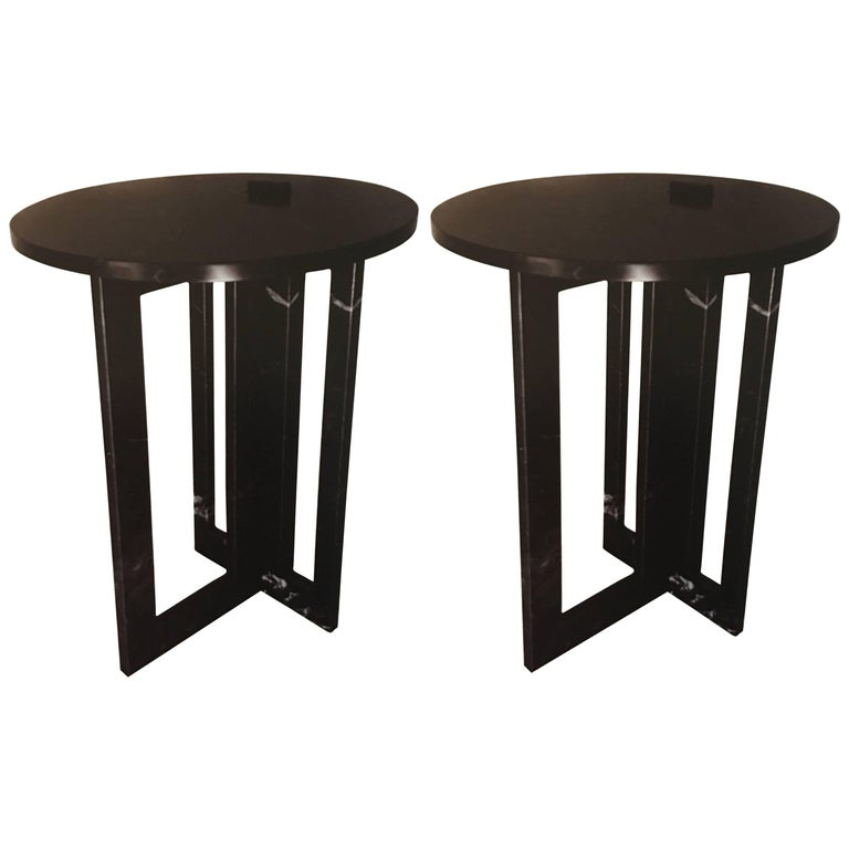 Pair of Italian Modern Black Marble Side Tables by Massimo Mangiardi