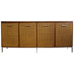 Mid-Century Modern Baughman for Founders Cane and Chrome Server Credenza, 1970s