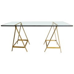Substantial Glass and Brass Saw Horse Midcentury Desk