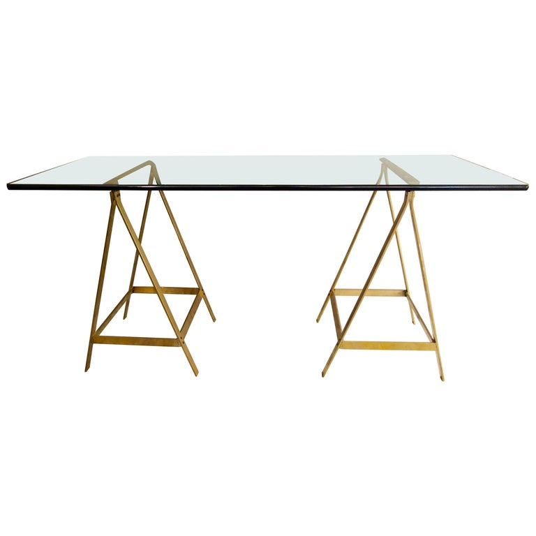 Substantial Glass and Brass Saw Horse Midcentury Desk For Sale