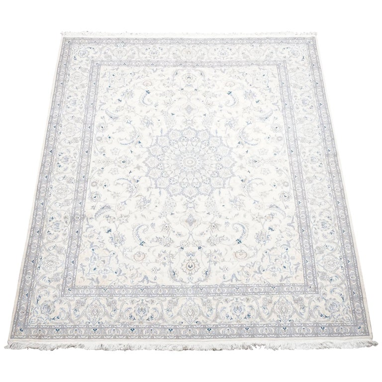 Ivory Wool And Silk Persian Naein Area Rug For Sale At 1stdibs: Wool And Silk Persian Naein Area Rug For Sale At 1stdibs