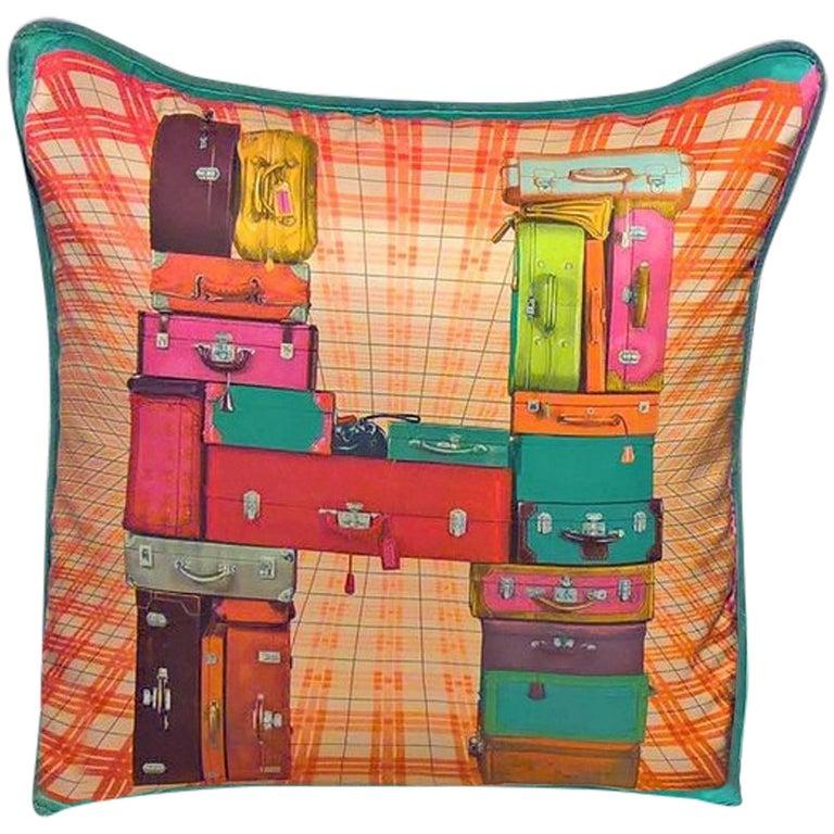 Vintage Hermes Silk Cushion on Blue Velvet For Sale
