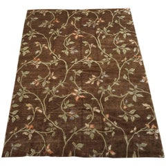 Wool and Silk Tibetan, European Inspired Area Rug