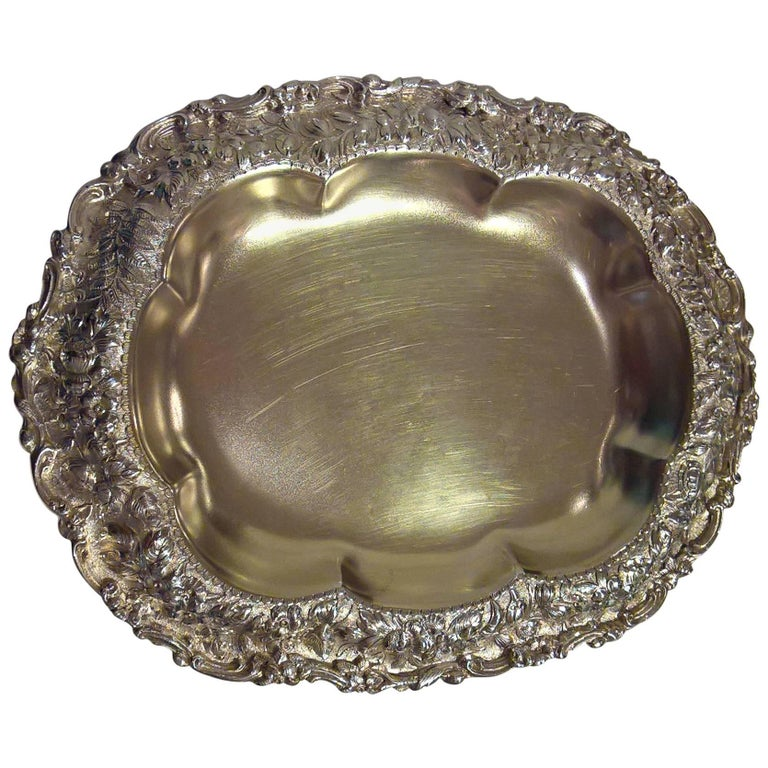 Antique Tiffany Sterling Silver Bowl with Floral Design
