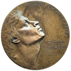 Renée Mayot, Rudolf Nureev, French Commemorative Bronze Medal, ca. 1996