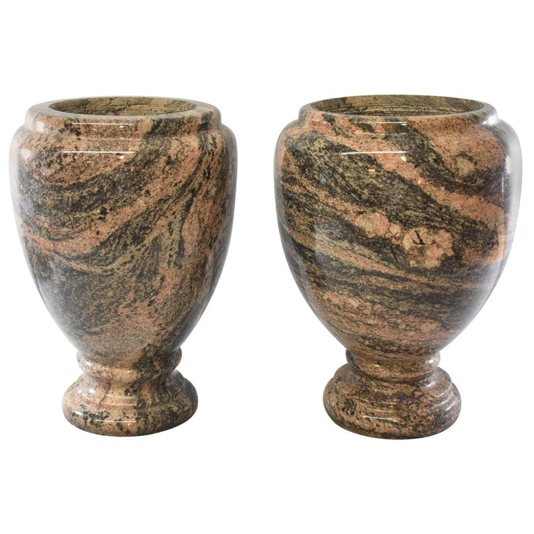 "20th Century Turned and Polished Set of Two 16"" Tall Granite Urns / Planters"
