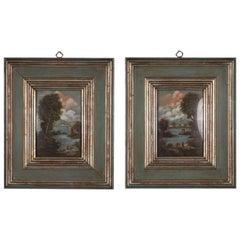 Pair of Small Vintage Italian Landscape Oil Paintings