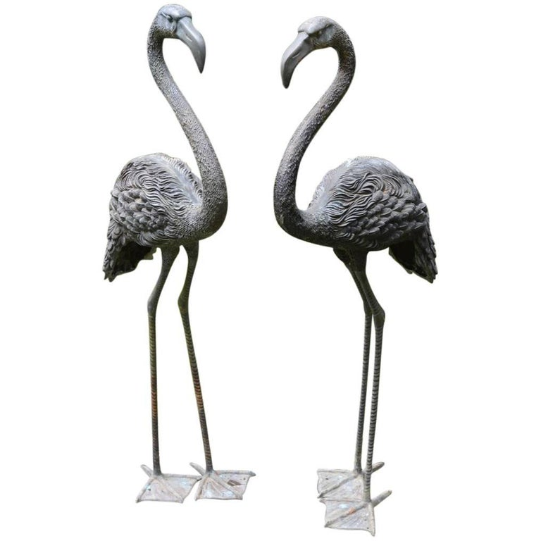 Pair of English Bronze Flamingoes 1