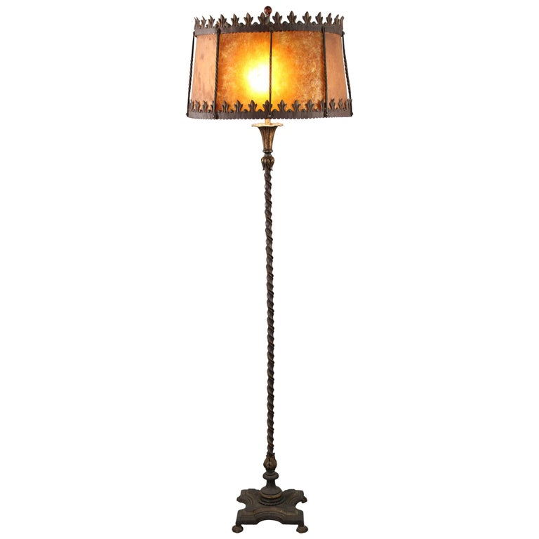 Classic spanish revival floor lamp with mica 1920s for 1920s floor lamps