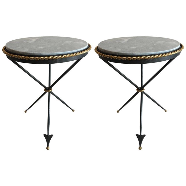 Pair of French Mid-Century Modern Neoclassical Gilt Iron and Marble Side Tables