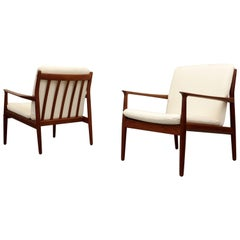 Pair of Grete Jalk Easy Chairs, Denmark, 1960s
