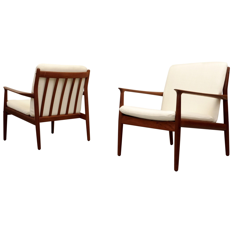 Pair of Grete Jalk Easy Chairs, Denmark, 1960s