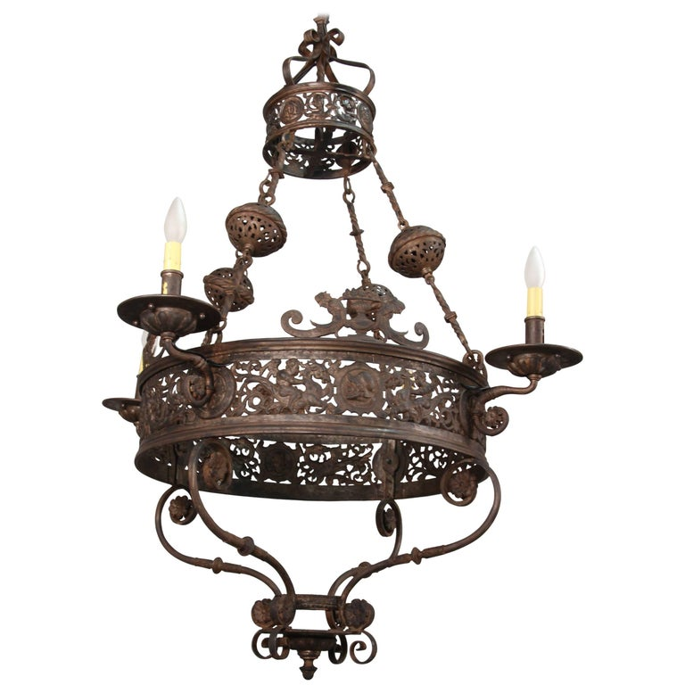 Items Similar To Lighting Rustic Chandelier Vintage 1920 S: Incredible 1920s Antique Chandelier Attributed To Oscar